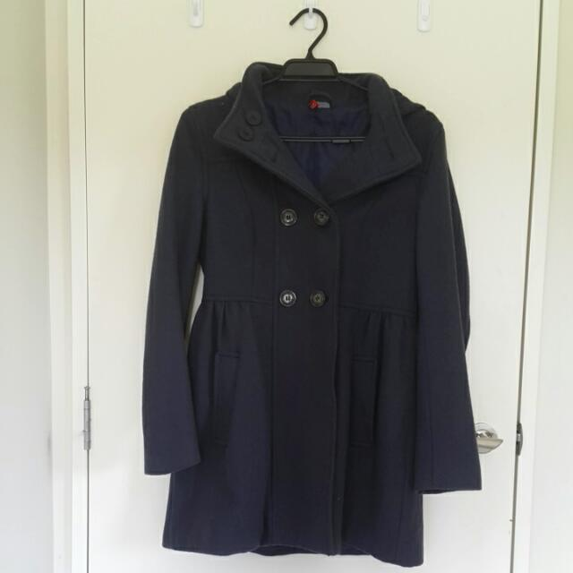 H&M Grey/Blue Winter Trench Coat