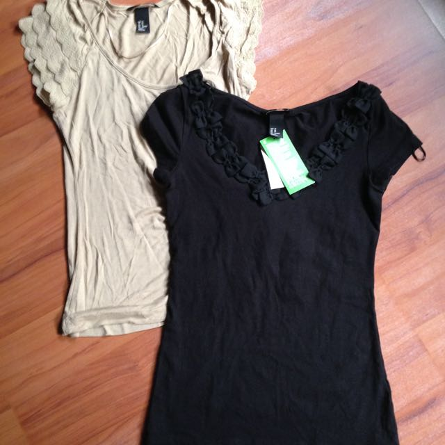 H&M Shirts in Black and Beige Bundled