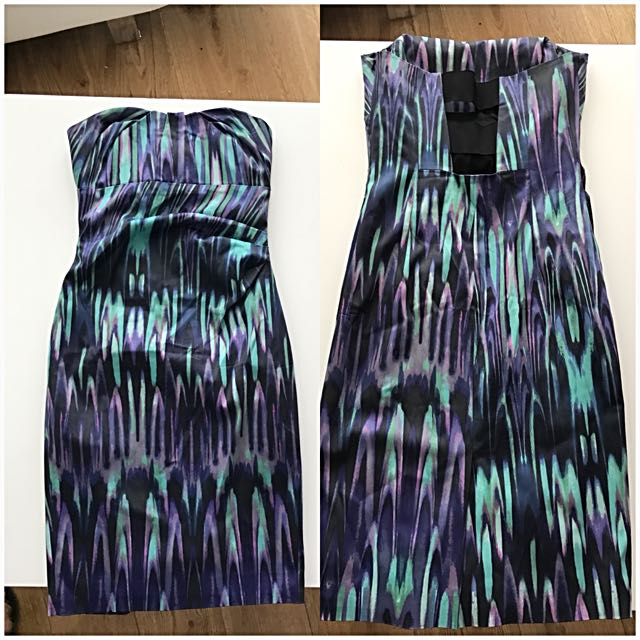 Karen Millen Colourful  Strapless Dress
