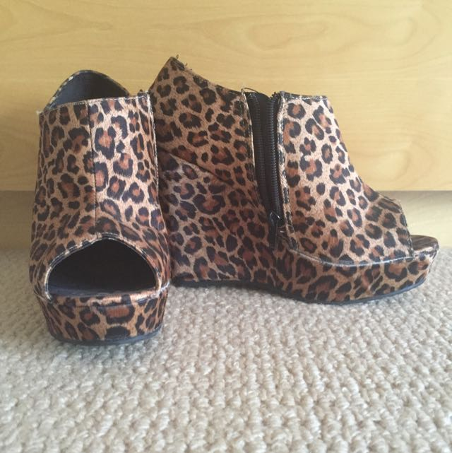 Leopard Print Wedge Heels