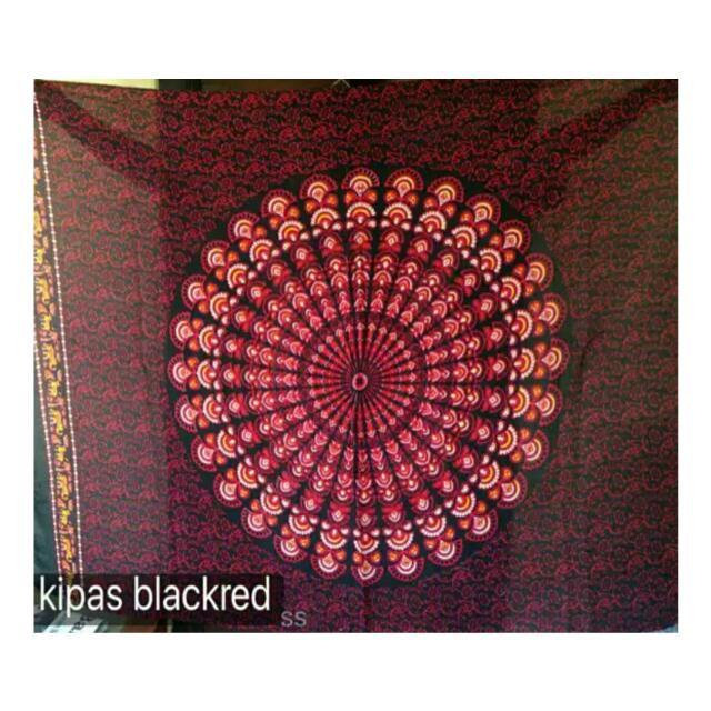 Mandala Tapestry Black Red