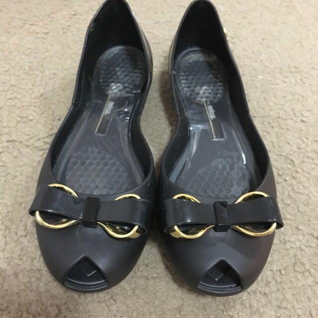 Melissa black Peep Toe Ballet Flats Size 8
