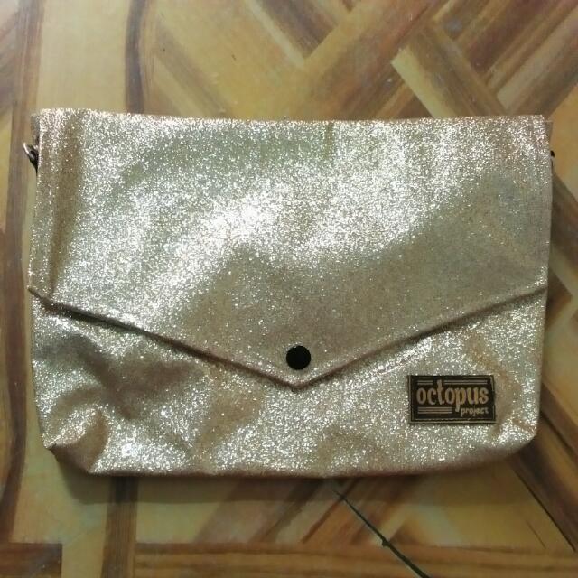 Octopus Gold Glitter Sling Bag
