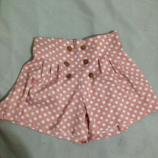 Polka Dot Peache Colored High Waist Skirt