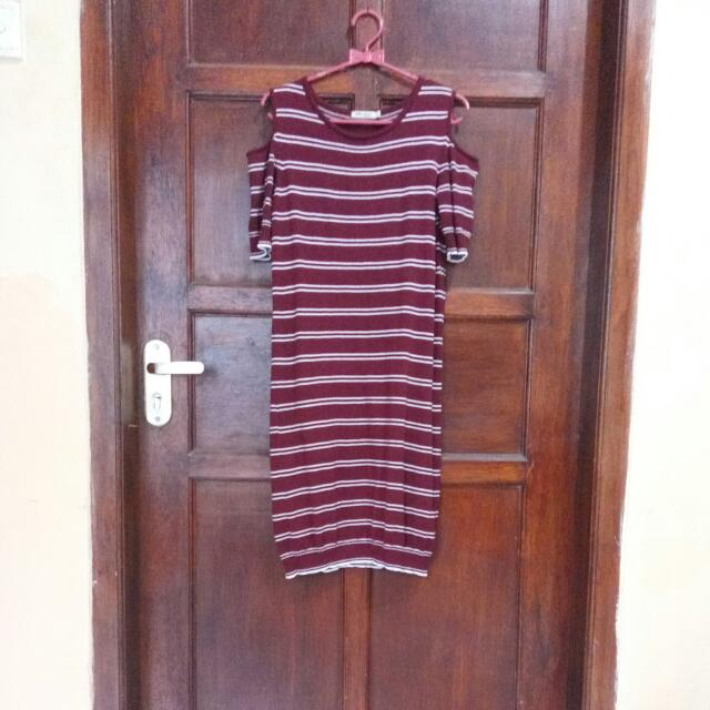 Stripes Dress Maroon