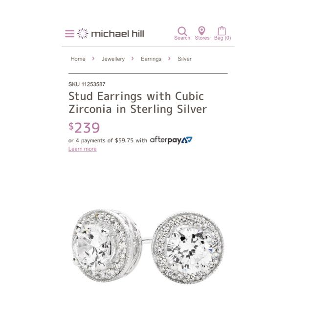 Stud Earrings With Cubic Zirconia stones