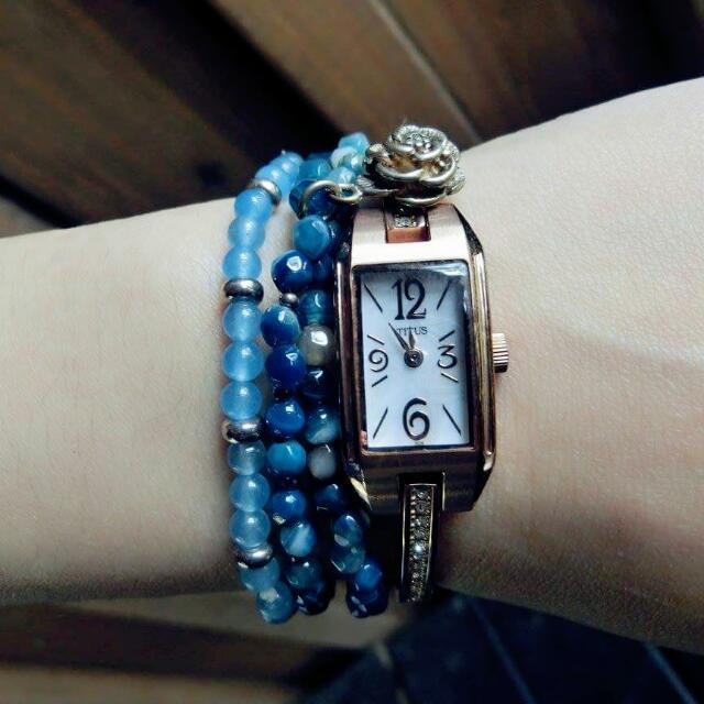 #我有手錶要賣 TITUS 鐵達時 古典鑲鑽腕錶 (不含藍色珠珠手鍊)