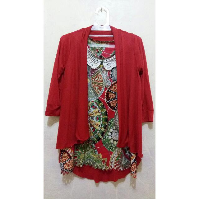 Tribal Satin Top + Outer
