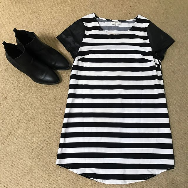 T-shirt Dress With Leather(fake) Sleeves