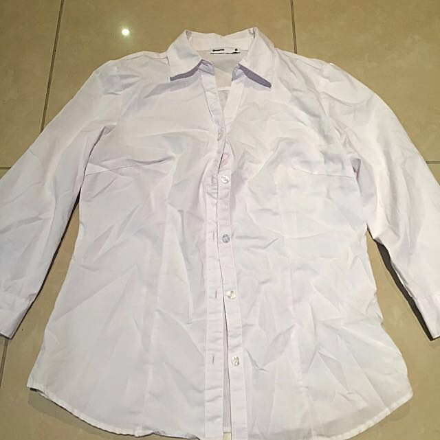 Work Blouse Button Up White
