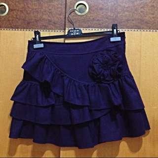 深紫色毛呢短裙