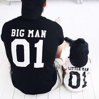 ✔️STOCK - MATCHING LITTLE MAN BIG MAN DADDY FATHER CHILD BABY SON TEE BABY BOY KIDS CHILDREN TOP CASUAL ADULT TSHIRT