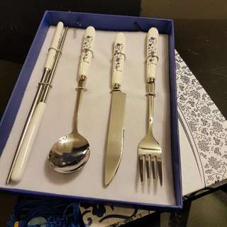 Beautiful Asian Cutlery Set Of 4