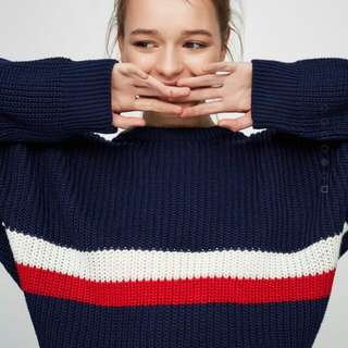PULL&BEAR STRIPED SPORTY SWEATER
