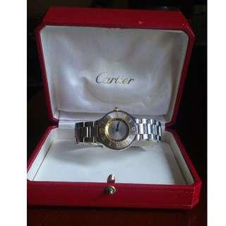 Authentic Must De CARTIER 21 Gold Stainless Steel Quart Watch