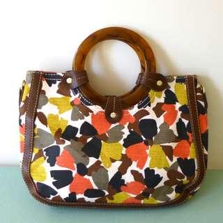 RELIC  Handbag Floral Print Canvas Fabric zip pockets inside SALE