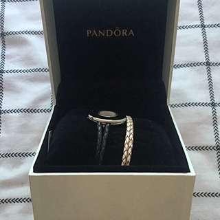 Pandora Leather Strap Watch & Leather Strap Bracelet