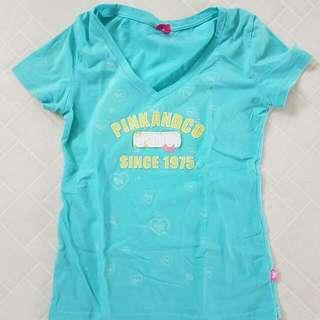 Joshua Perets Turquoise V Neck Tee Size M