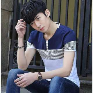 Korean Men's Wear Cotton Combined Button-up Tee