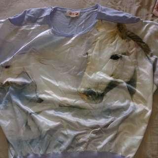 Long Loose White Horse Shirt