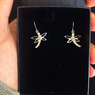 Brand New Diamond Dragonfly Earrings