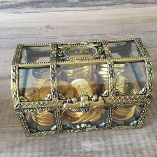 Chocolate Gold Coin in Vintage Treasure Box