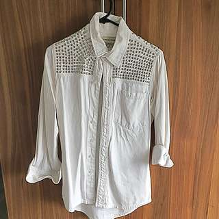 FRIEND OF MINE SILVER STUDDED JEAN SHIRT