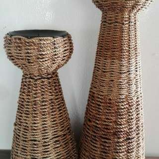 Wicker Candle Stands X2