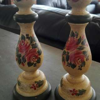 Hand Painted Wooden Candle Stands