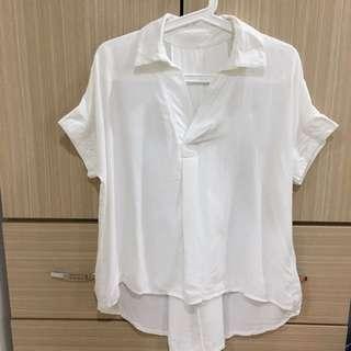 前短後長v領白襯衫