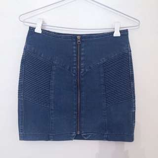 Denim Zip Skirt Size 10