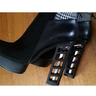 NEW Japanese Black Heels with Caged Heel AU8 Boots