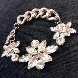 Floral Crystal Silver Bracelet