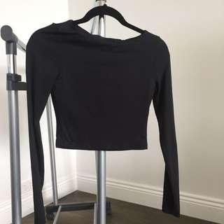 Kookai Long Sleeve Crop Top Black Size 1