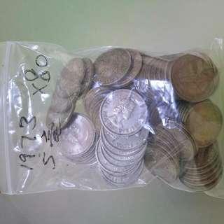 1973 女皇 5毫每個$100