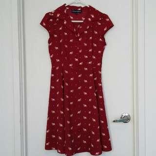 Princess Highway Bird Print Maroon Dress- Size 8