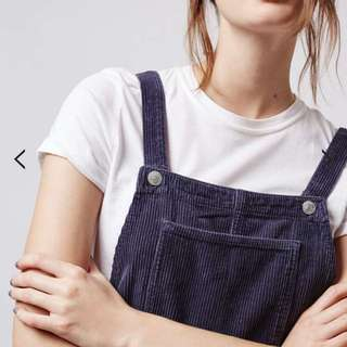 TOPSHOP Corduroy Navy Pinafore Dress