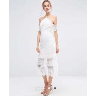 Wedding Solemnization/ Prewed Lace Midi Dress with Bardot Sleeves