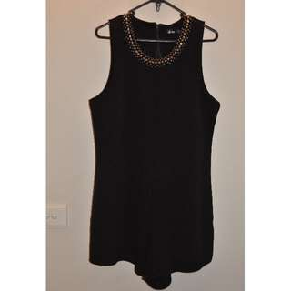 Black Play Suit with Beaded Neckline
