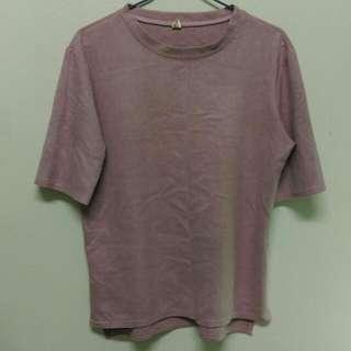 🚚 粉色麂皮材質上衣