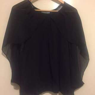 Forcast Forecast Wing  Blouse Top Black