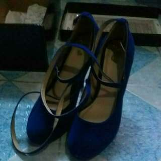 Blue Tie Up High Heels Shoes