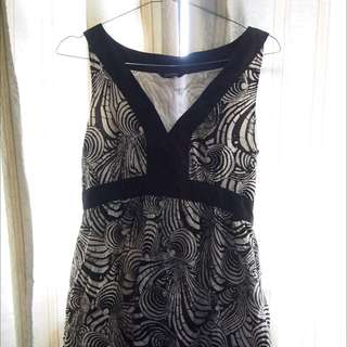 Alano Formal Dress Black and White