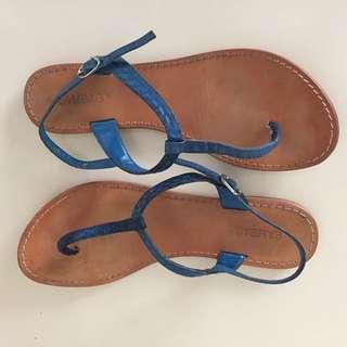 Sambag blue snakeskin sandal
