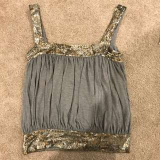 Sequined Detailed Grey Tank