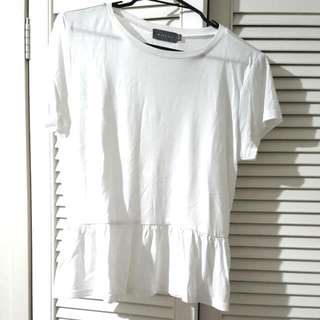 Classic White T - Shirt With A Frill