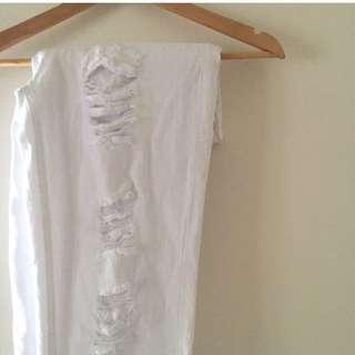 White Distressed Boyfriend Denim Jeans