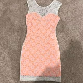 Sass Orange And White Lace Dress