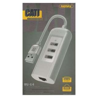 🚚 REMAX CATI RU-U4 3USB with 1LAN Network HUB