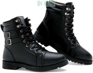 皮靴軍靴時尚潮流韓版男靴子英倫長靴鉚釘高筒靴馬丁靴尖頭金屬搭扣歐美範機車靴加毛加絨保暖雪地鞋牛仔靴商務朋克搖滾